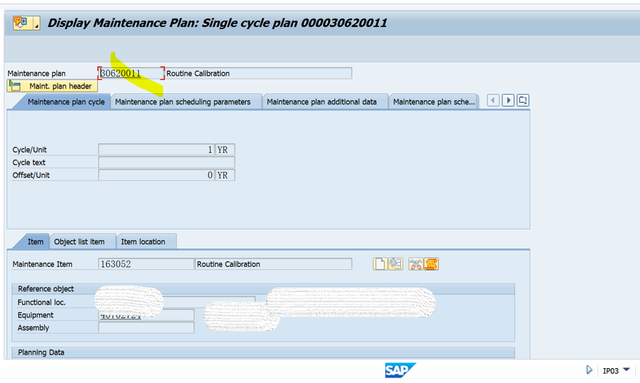 SAP PM 入门系列5-IP03 显示一个维护计划 图3