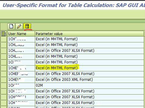 SAP表格导出功能以及如何删除恢复默认选定格式 图5