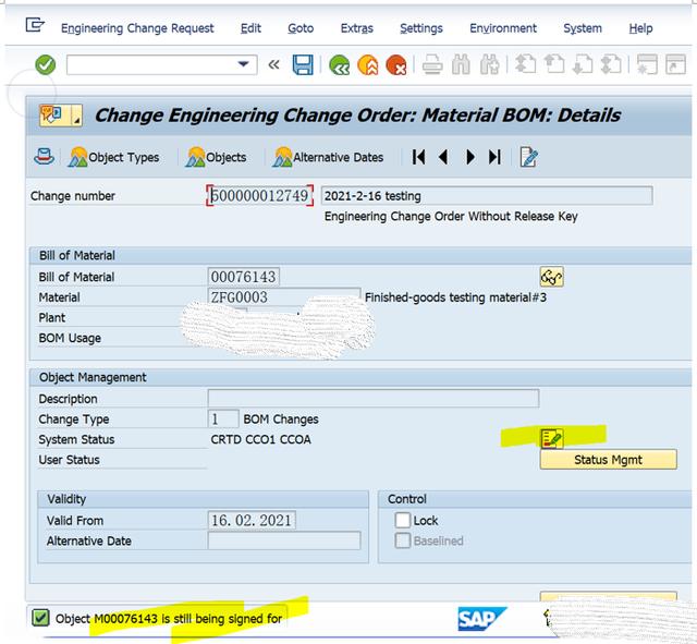 SAP PP使用ECR去修改BOM主数据