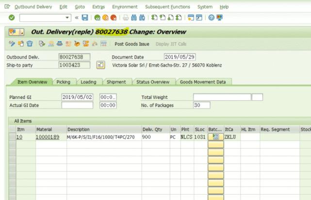 SAP不能修改一个已经分配给交货单的HU 图2