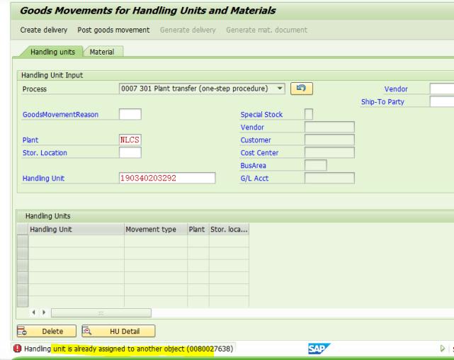 SAP不能修改一个已经分配给交货单的HU 图4